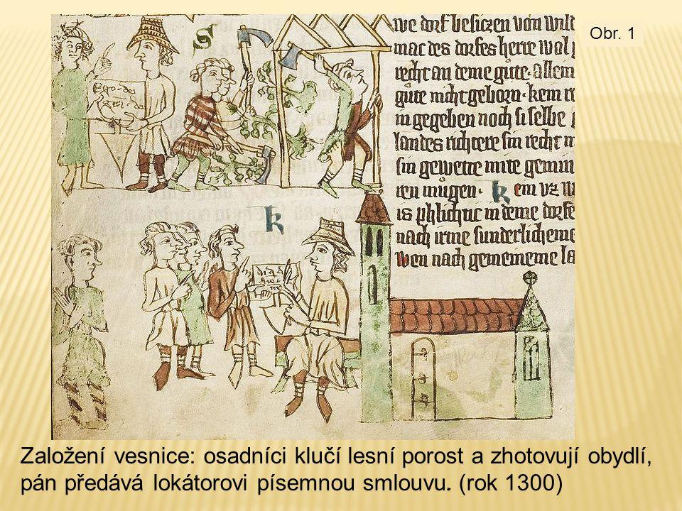 Založení vesnice: osadníci klučí lesní porost a zhotovují obydlí, pán předává lokátorovi písemnou smlouvu. (rok 1300) Obr. 1
