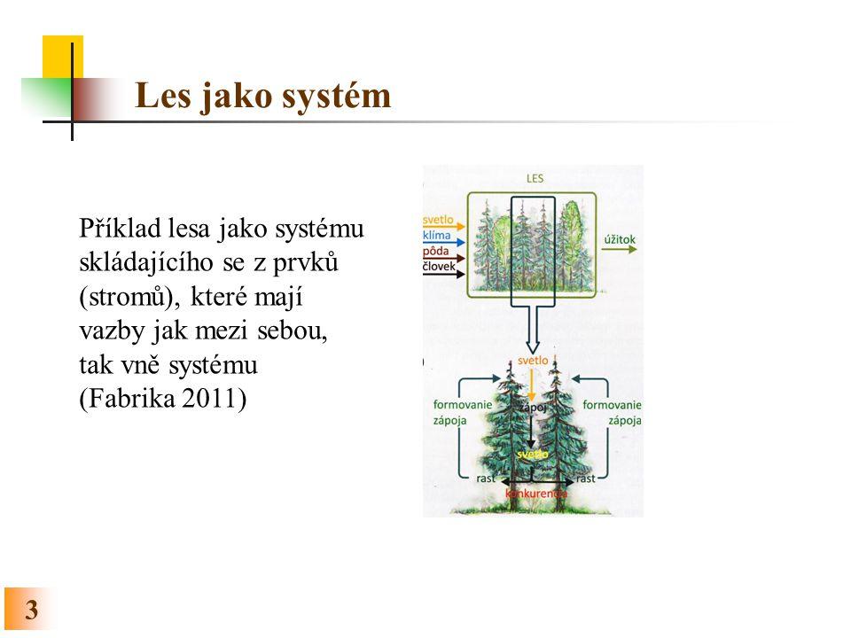 Les jako systém 3 Příklad lesa jako systému skládajícího se z prvků (stromů), které mají vazby jak mezi sebou, tak vně systému (Fabrika 2011)