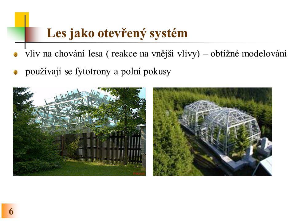 Les jako strukturovaný systém 7 Prostorová struktura porostu horizontální (náhodná, shlukovitá nebo pravidelná) vertikální (jedno- nebo víceetážová, výběrný les) (Fabrika 2011)