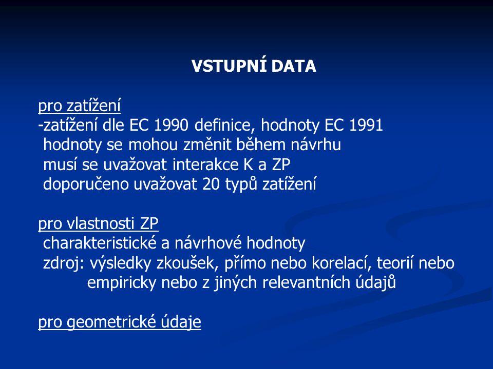 VSTUPNÍ DATA pro zatížení -zatížení dle EC 1990 definice, hodnoty EC 1991 hodnoty se mohou změnit během návrhu musí se uvažovat interakce K a ZP doporučeno uvažovat 20 typů zatížení pro vlastnosti ZP charakteristické a návrhové hodnoty zdroj: výsledky zkoušek, přímo nebo korelací, teorií nebo empiricky nebo z jiných relevantních údajů pro geometrické údaje