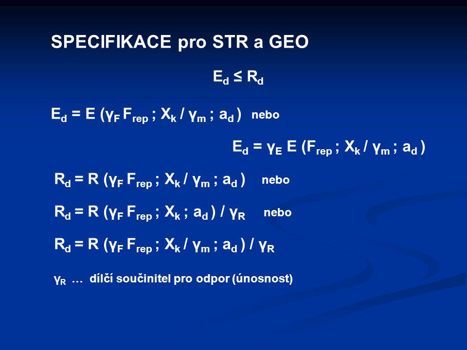 SPECIFIKACE pro STR a GEO E d ≤ R d E d = E (γ F F rep ; X k / γ m ; a d ) nebo E d = γ E E (F rep ; X k / γ m ; a d ) R d = R (γ F F rep ; X k / γ m ; a d ) nebo R d = R (γ F F rep ; X k ; a d ) / γ R nebo R d = R (γ F F rep ; X k / γ m ; a d ) / γ R γ R … dílčí součinitel pro odpor (únosnost)