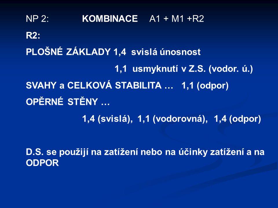 NP 2: KOMBINACE A1 + M1 +R2 R2: PLOŠNÉ ZÁKLADY 1,4 svislá únosnost 1,1 usmyknutí v Z.S.