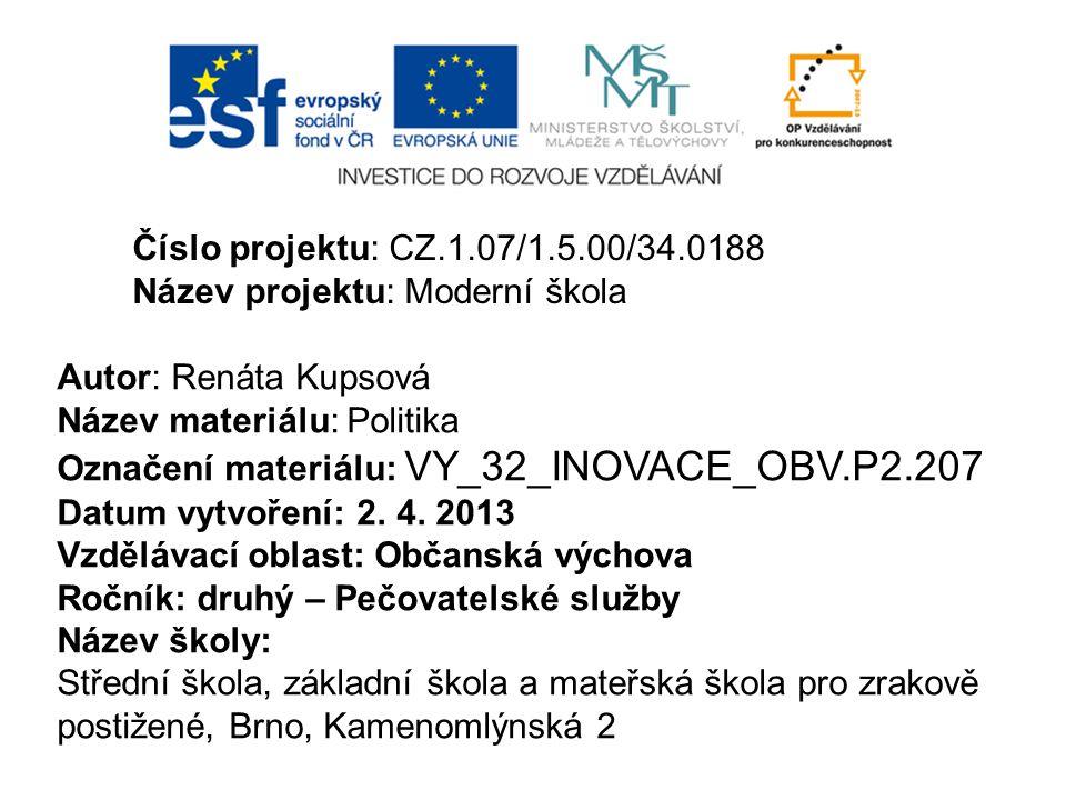 Číslo projektu: CZ.1.07/1.5.00/34.0188 Název projektu: Moderní škola Autor: Renáta Kupsová Název materiálu: Politika Označení materiálu: VY_32_INOVACE