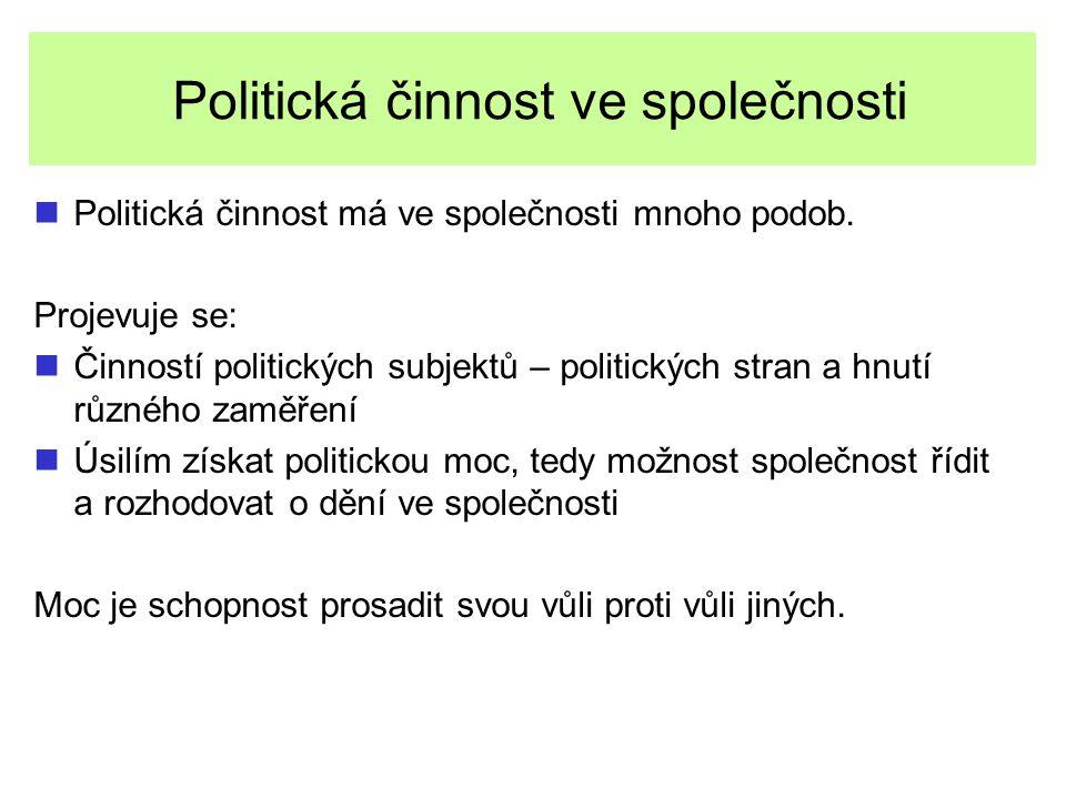 Politická činnost ve společnosti Politická činnost má ve společnosti mnoho podob. Projevuje se: Činností politických subjektů – politických stran a hn