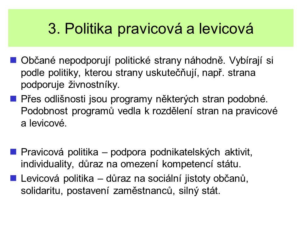 3. Politika pravicová a levicová Občané nepodporují politické strany náhodně. Vybírají si podle politiky, kterou strany uskutečňují, např. strana podp
