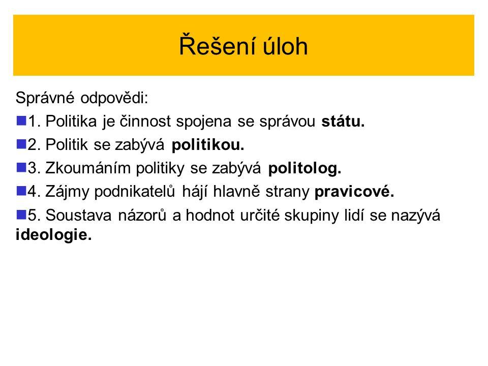Řešení úloh Správné odpovědi: 1. Politika je činnost spojena se správou státu. 2. Politik se zabývá politikou. 3. Zkoumáním politiky se zabývá politol