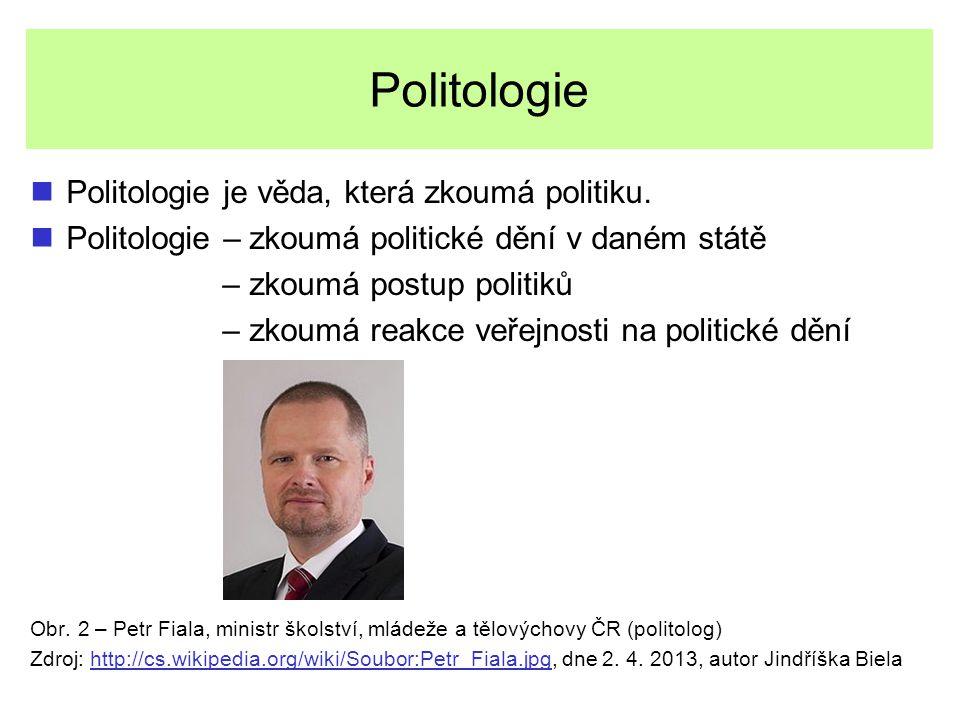 Politologie Politologie je věda, která zkoumá politiku. Politologie – zkoumá politické dění v daném státě – zkoumá postup politiků – zkoumá reakce veř