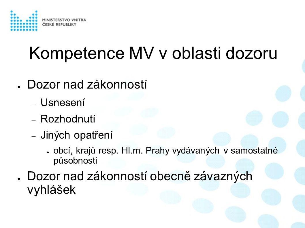 Kompetence MV v oblasti dozoru ● Dozor nad zákonností  Usnesení  Rozhodnutí  Jiných opatření ● obcí, krajů resp.