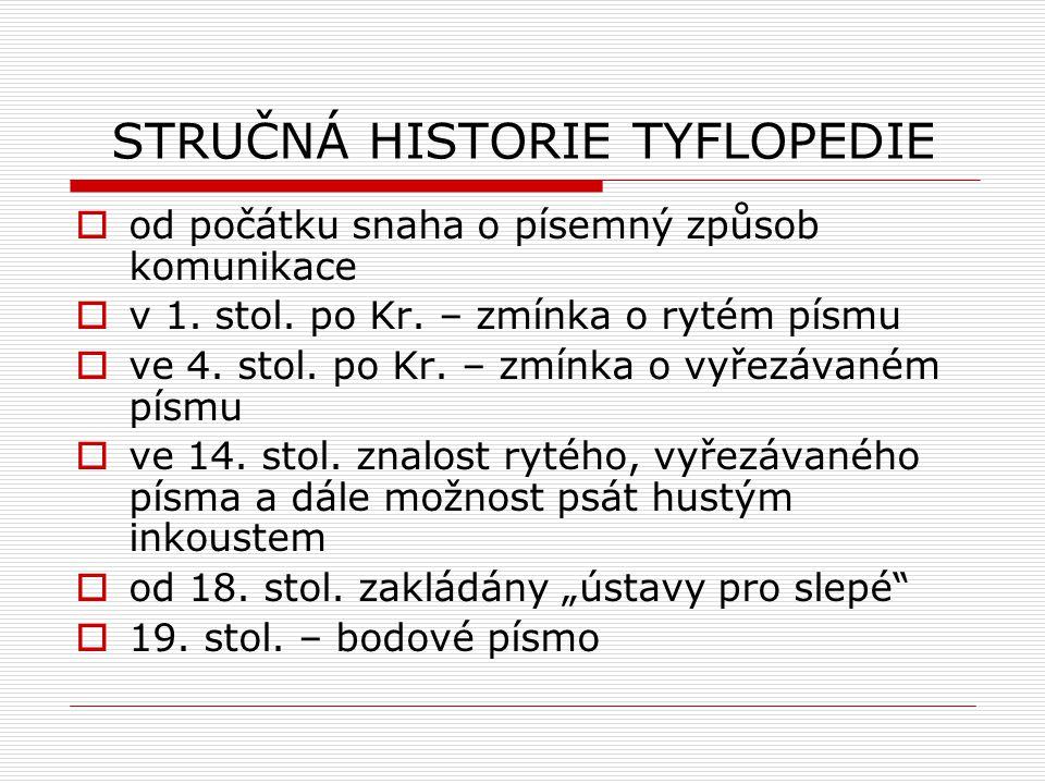STRUČNÁ HISTORIE TYFLOPEDIE  od počátku snaha o písemný způsob komunikace  v 1. stol. po Kr. – zmínka o rytém písmu  ve 4. stol. po Kr. – zmínka o