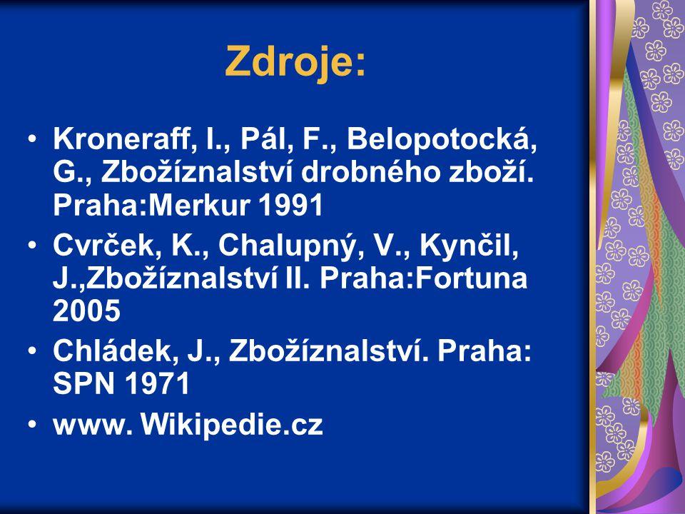 Zdroje: Kroneraff, I., Pál, F., Belopotocká, G., Zbožíznalství drobného zboží. Praha:Merkur 1991 Cvrček, K., Chalupný, V., Kynčil, J.,Zbožíznalství II