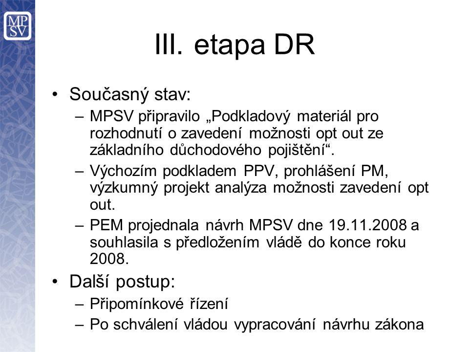 """III. etapa DR Současný stav: –MPSV připravilo """"Podkladový materiál pro rozhodnutí o zavedení možnosti opt out ze základního důchodového pojištění"""". –V"""