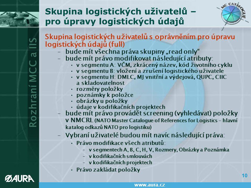 Rozhraní MCC a IIS www.aura.cz 10 Skupina logistických uživatelů – pro úpravy logistických údajů Skupina logistických uživatelů s oprávněním pro úprav