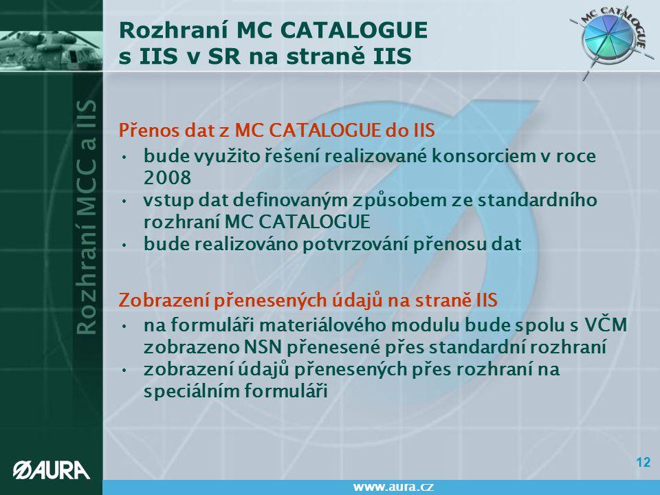 Rozhraní MCC a IIS www.aura.cz 12 Rozhraní MC CATALOGUE s IIS v SR na straně IIS Přenos dat z MC CATALOGUE do IIS bude využito řešení realizované kons