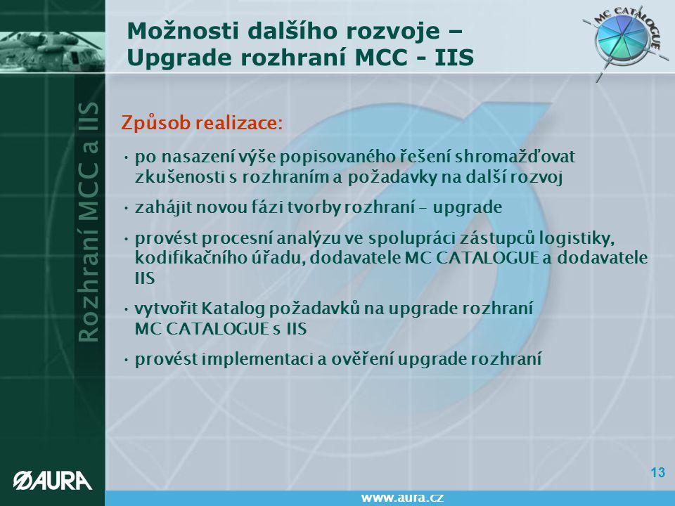 Rozhraní MCC a IIS www.aura.cz 13 Možnosti dalšího rozvoje – Upgrade rozhraní MCC - IIS Způsob realizace: po nasazení výše popisovaného řešení shromaž