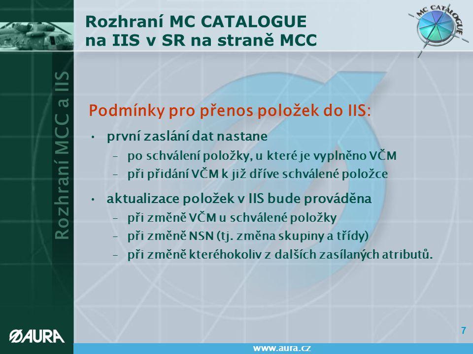 Rozhraní MCC a IIS www.aura.cz 7 Rozhraní MC CATALOGUE na IIS v SR na straně MCC Podmínky pro přenos položek do IIS: první zaslání dat nastane –po sch