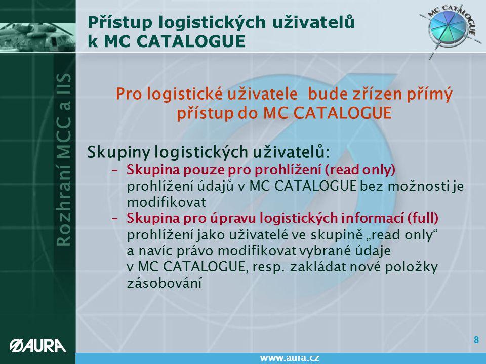 Rozhraní MCC a IIS www.aura.cz 9 Skupina logistických uživatelů - pouze pro prohlížení Skupina logistických uživatelů s oprávněním pouze pro prohlížení (read only) bude mít právo: –prohlížet všechny údaje: v segmentech A, B, C, H, V, Rozmery, Rušenie, Obrázky a Poznámka v číselnících H2, H4 a H6 v kodifikačních smlouvách v kodifikačních projektech –a dále jí bude umožněno: exportování údajů do souboru formátu MS Excel vyhledávání