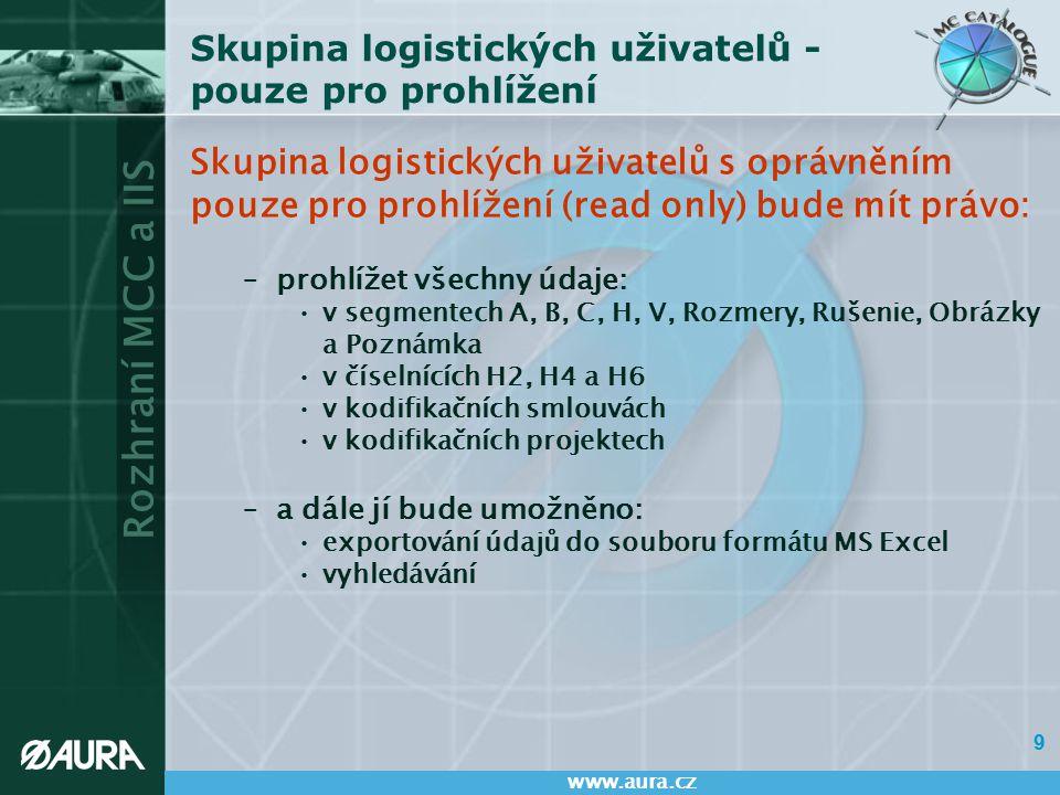 """Rozhraní MCC a IIS www.aura.cz 10 Skupina logistických uživatelů – pro úpravy logistických údajů Skupina logistických uživatelů s oprávněním pro úpravu logistických údajů (full) –bude mít všechna práva skupiny """"read only –bude mít právo modifikovat následující atributy: v segmentu A: VČM, zkrácený název, kód životního cyklu v segmentu B: vložení a zrušení logistického uživatele v segmentu H: DMLC, MJ vnitřní a výdejová, QUPC, CIIC a skladovatelnost rozměry položky poznámky k položce obrázky u položky údaje v kodifikačních projektech –bude mít právo provádět screening (vyhledávat) položky v NMCRL (NATO Master Catalogue of References for Logistics – hlavní katalog odkazů NATO pro logistiku) –Vybraní uživatelé budou mít navíc následující práva: Právo modifikace všech atributů: –v segmentech A, B, C, H, V, Rozmery, Obrázky a Poznámka –v kodifikačních smlouvách –v kodifikačních projektech Právo zakládat položky"""