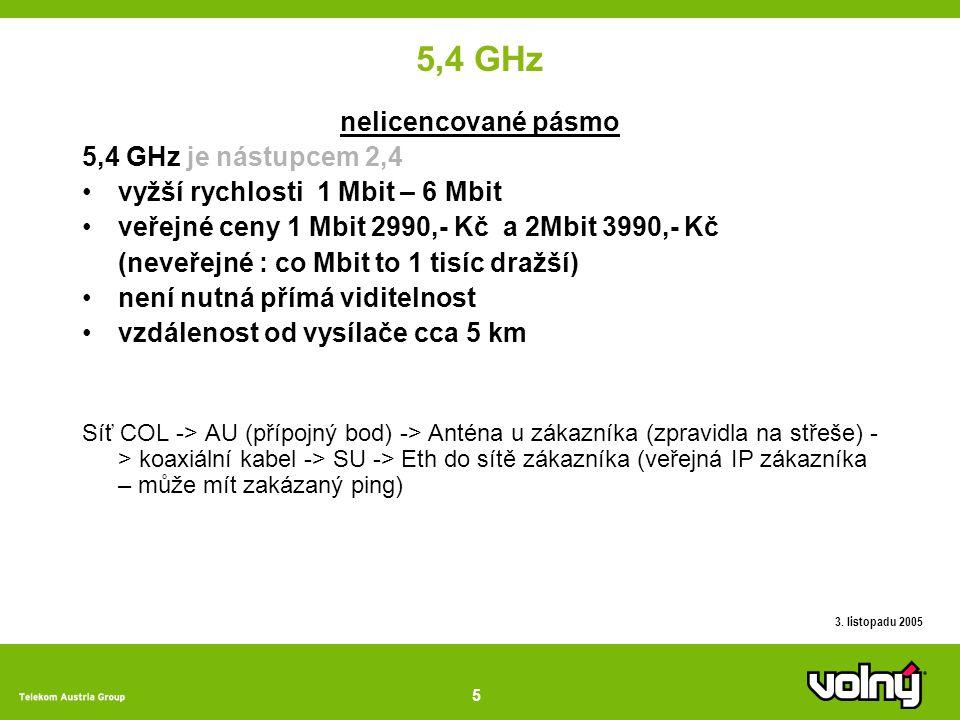 5 3. listopadu 2005 5,4 GHz nelicencované pásmo 5,4 GHz je nástupcem 2,4 vyžší rychlosti 1 Mbit – 6 Mbit veřejné ceny 1 Mbit 2990,- Kč a 2Mbit 3990,-