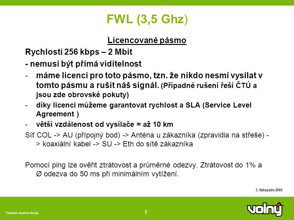 7 3. listopadu 2005 FWL (3,5 Ghz) Licencované pásmo Rychlosti 256 kbps – 2 Mbit - nemusí být přímá viditelnost -máme licenci pro toto pásmo, tzn. že n