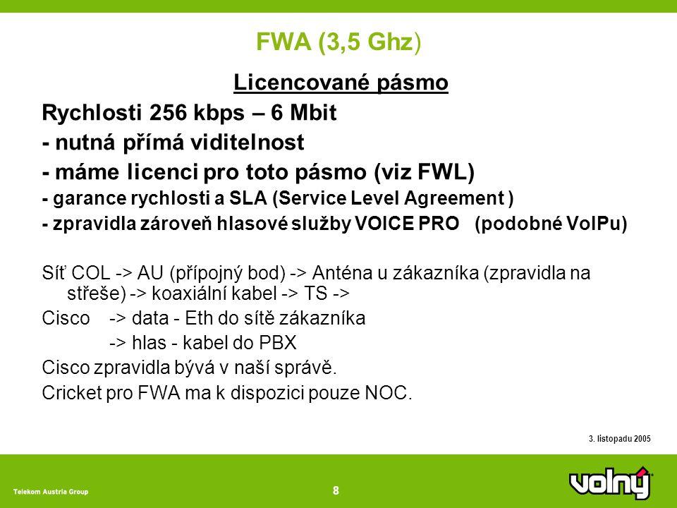 8 3. listopadu 2005 FWA (3,5 Ghz) Licencované pásmo Rychlosti 256 kbps – 6 Mbit - nutná přímá viditelnost - máme licenci pro toto pásmo (viz FWL) - ga