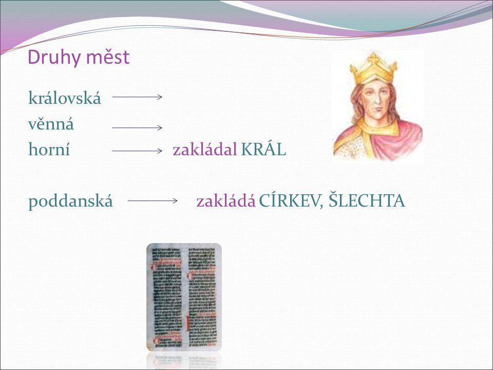 Druhy měst královská věnná horní zakládal KRÁL poddanská zakládá CÍRKEV, ŠLECHTA