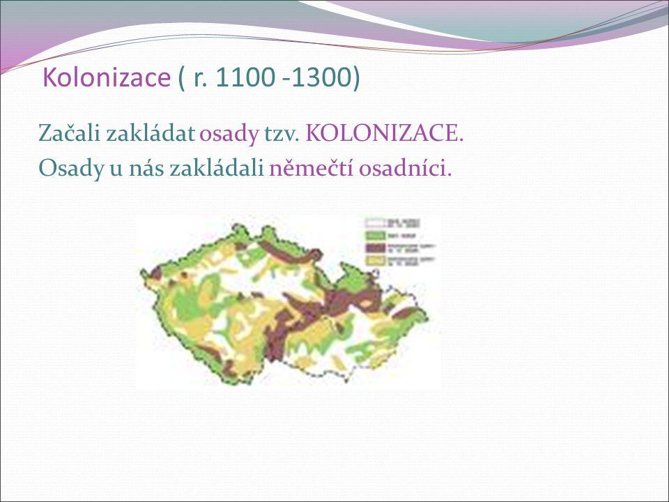 Kolonizace ( r. 1100 -1300) Začali zakládat osady tzv.