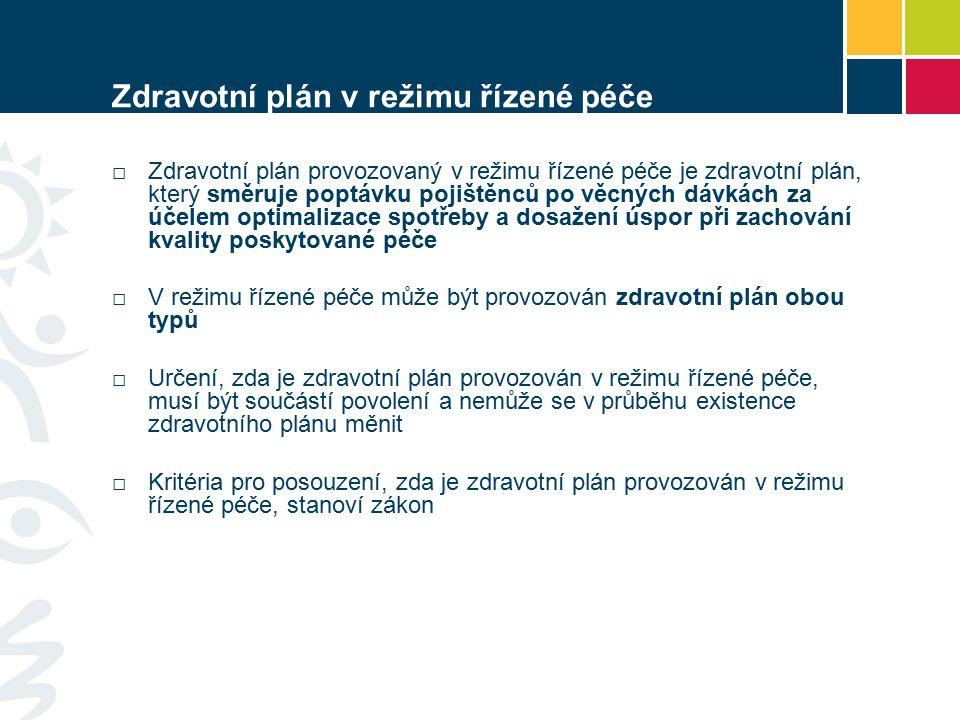 Zdravotní plán v režimu řízené péče □Zdravotní plán provozovaný v režimu řízené péče je zdravotní plán, který směruje poptávku pojištěnců po věcných dávkách za účelem optimalizace spotřeby a dosažení úspor při zachování kvality poskytované péče □ V režimu řízené péče může být provozován zdravotní plán obou typů □ Určení, zda je zdravotní plán provozován v režimu řízené péče, musí být součástí povolení a nemůže se v průběhu existence zdravotního plánu měnit □ Kritéria pro posouzení, zda je zdravotní plán provozován v režimu řízené péče, stanoví zákon