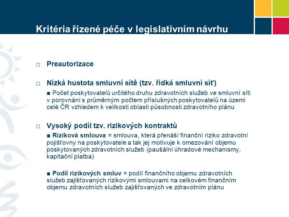 Kritéria řízené péče v legislativním návrhu □Preautorizace □ Nízká hustota smluvní sítě (tzv. řídká smluvní síť) ■ Počet poskytovatelů určitého druhu