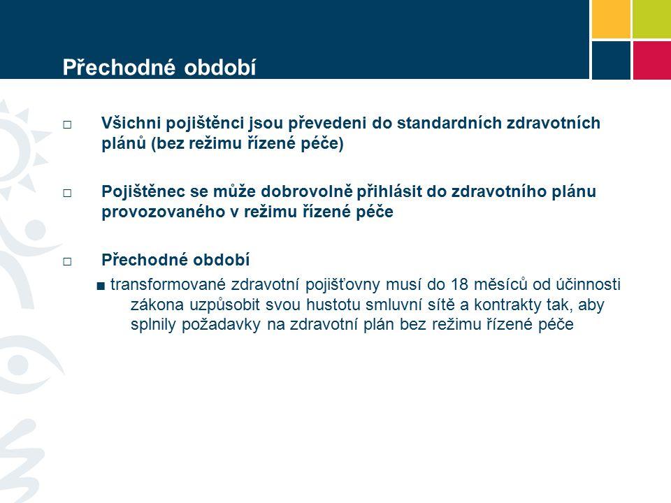 Přechodné období □Všichni pojištěnci jsou převedeni do standardních zdravotních plánů (bez režimu řízené péče) □Pojištěnec se může dobrovolně přihlási
