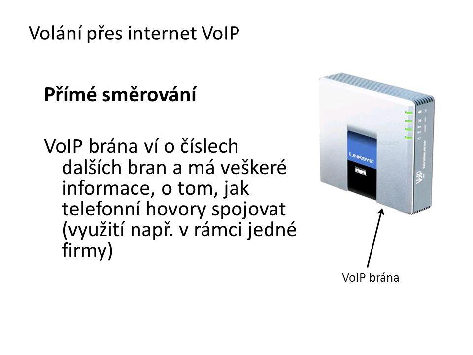 Přímé směrování VoIP brána ví o číslech dalších bran a má veškeré informace, o tom, jak telefonní hovory spojovat (využití např. v rámci jedné firmy)