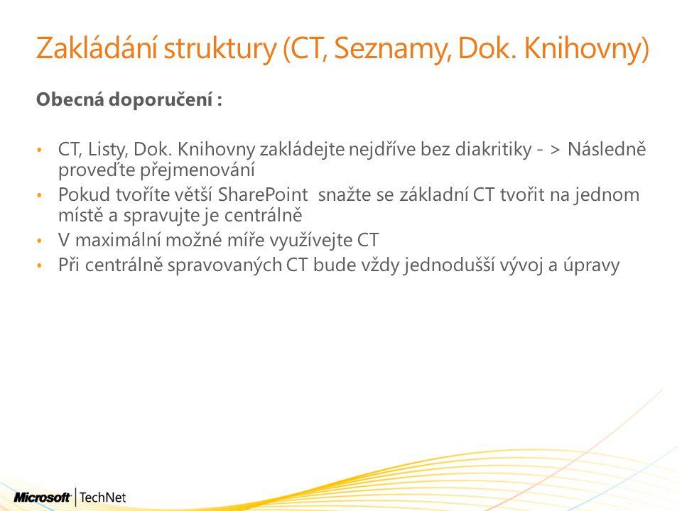 Zakládání struktury (CT, Seznamy, Dok. Knihovny) Obecná doporučení : CT, Listy, Dok. Knihovny zakládejte nejdříve bez diakritiky - > Následně proveďte