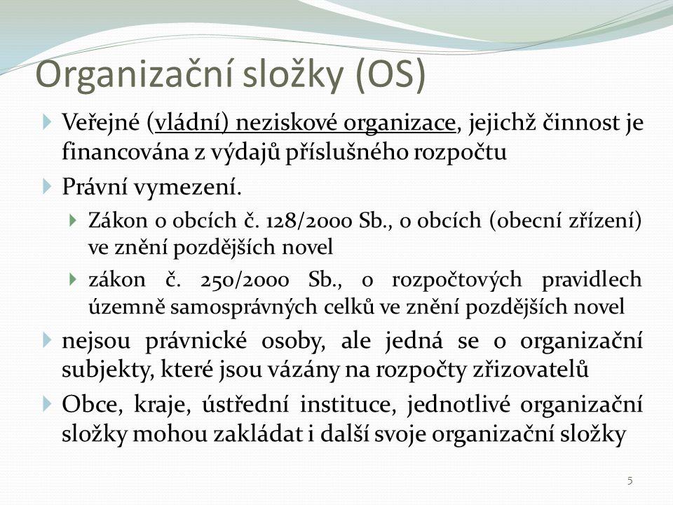 Organizační složky (OS)  Veřejné (vládní) neziskové organizace, jejichž činnost je financována z výdajů příslušného rozpočtu  Právní vymezení.  Zák