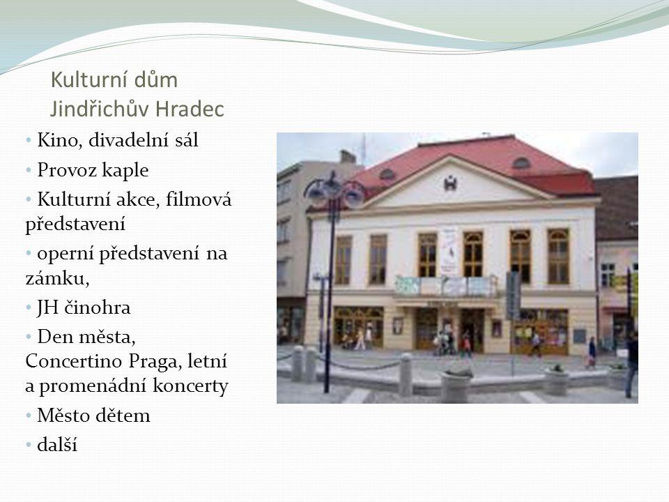 Kulturní dům Jindřichův Hradec Kino, divadelní sál Provoz kaple Kulturní akce, filmová představení operní představení na zámku, JH činohra Den města,