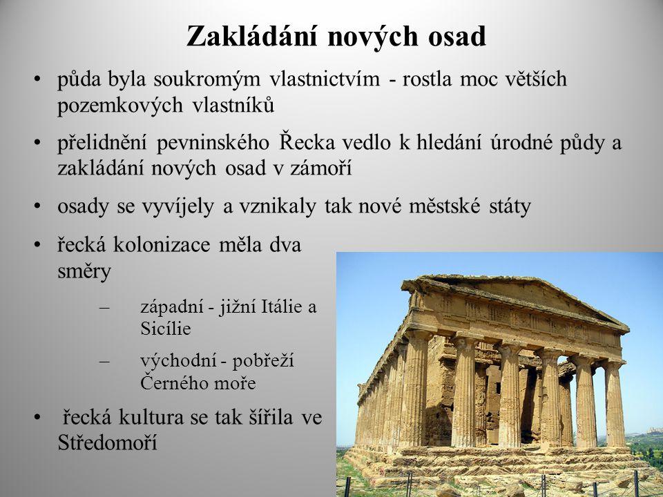 Zakládání nových osad půda byla soukromým vlastnictvím - rostla moc větších pozemkových vlastníků přelidnění pevninského Řecka vedlo k hledání úrodné