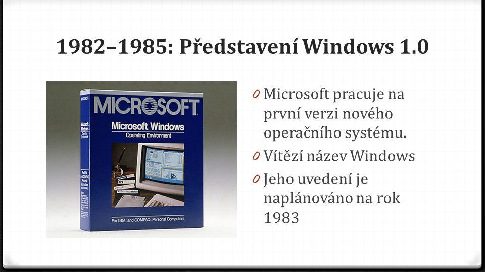 1982–1985: Představení Windows 1.0 0 Microsoft pracuje na první verzi nového operačního systému. 0 Vítězí název Windows 0 Jeho uvedení je naplánováno