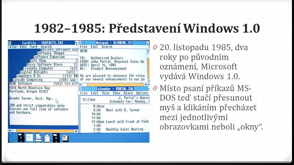 1982–1985: Představení Windows 1.0 0 20. listopadu 1985, dva roky po původním oznámení, Microsoft vydává Windows 1.0. 0 Místo psaní příkazů MS- DOS te