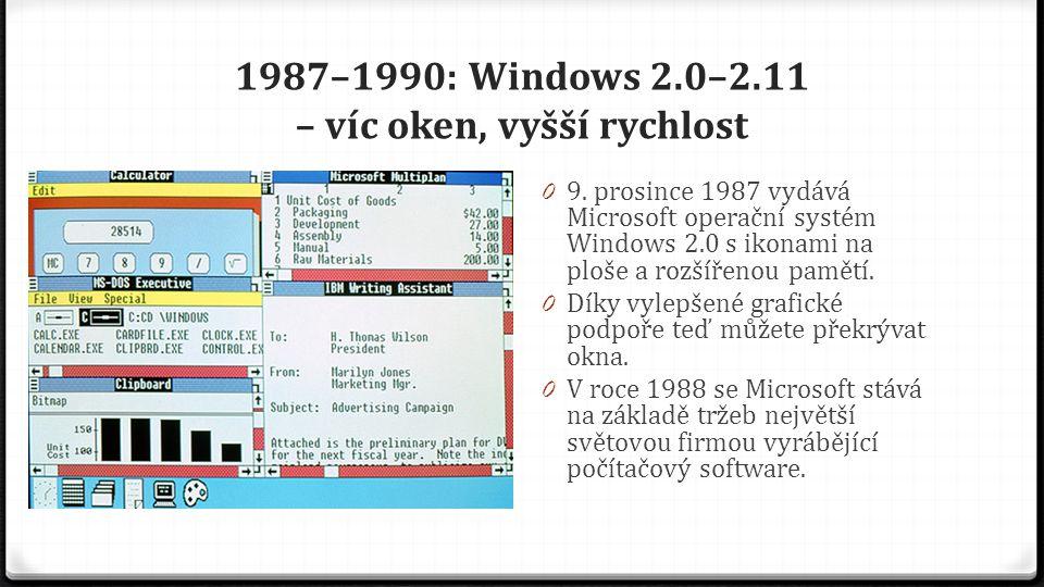 1987–1990: Windows 2.0–2.11 – víc oken, vyšší rychlost 0 9. prosince 1987 vydává Microsoft operační systém Windows 2.0 s ikonami na ploše a rozšířenou