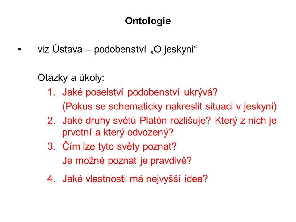 """Ontologie viz Ústava – podobenství """"O jeskyni Otázky a úkoly: 1.Jaké poselství podobenství ukrývá."""