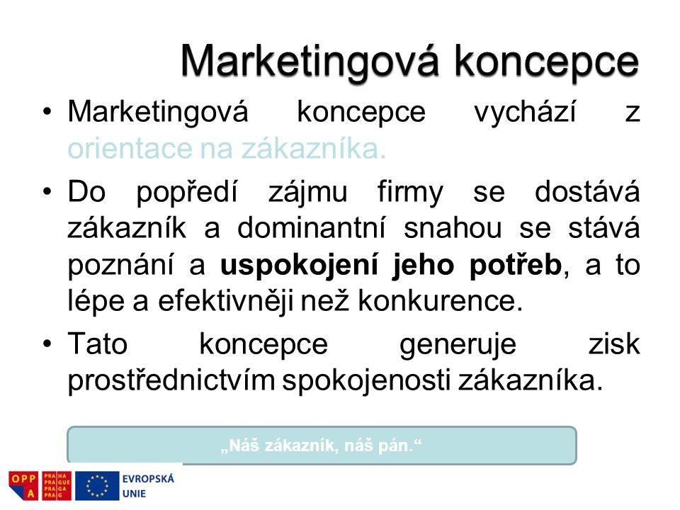 Marketingová koncepce vychází z orientace na zákazníka.