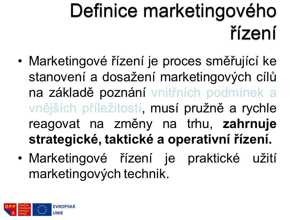 Marketingové řízení je proces směřující ke stanovení a dosažení marketingových cílů na základě poznání vnitřních podmínek a vnějších příležitostí, musí pružně a rychle reagovat na změny na trhu, zahrnuje strategické, taktické a operativní řízení.
