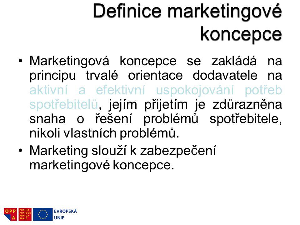 Marketingová koncepce se zakládá na principu trvalé orientace dodavatele na aktivní a efektivní uspokojování potřeb spotřebitelů, jejím přijetím je zd