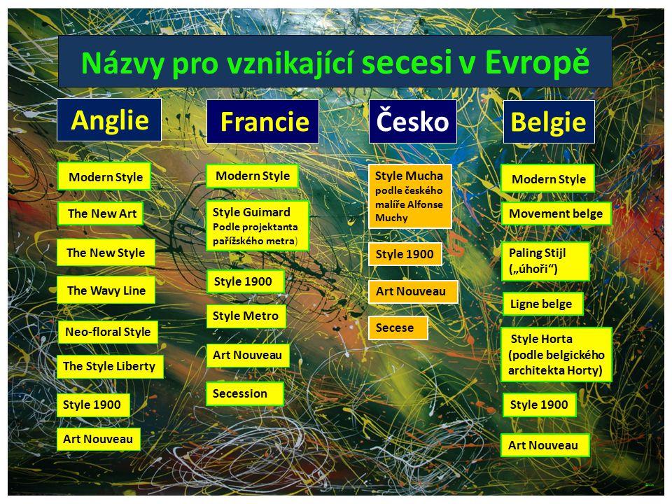 Názvy pro vznikající secesi v Evropě Ligne belge Anglie Francie Belgie Česko Modern Style The New Art The New Style The Wavy Line Neo-floral Style The