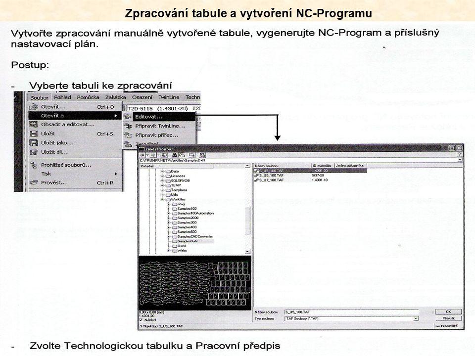Zpracování tabule a vytvoření NC-Programu