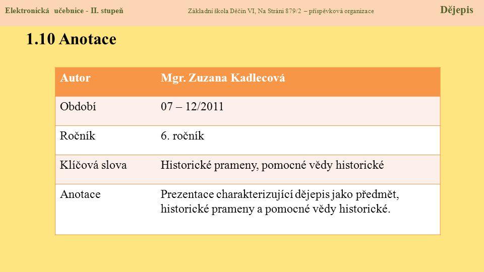 Elektronická učebnice - II. stupeň Základní škola Děčín VI, Na Stráni 879/2 – příspěvková organizace Dějepis 1.10 Anotace AutorMgr. Zuzana Kadlecová O