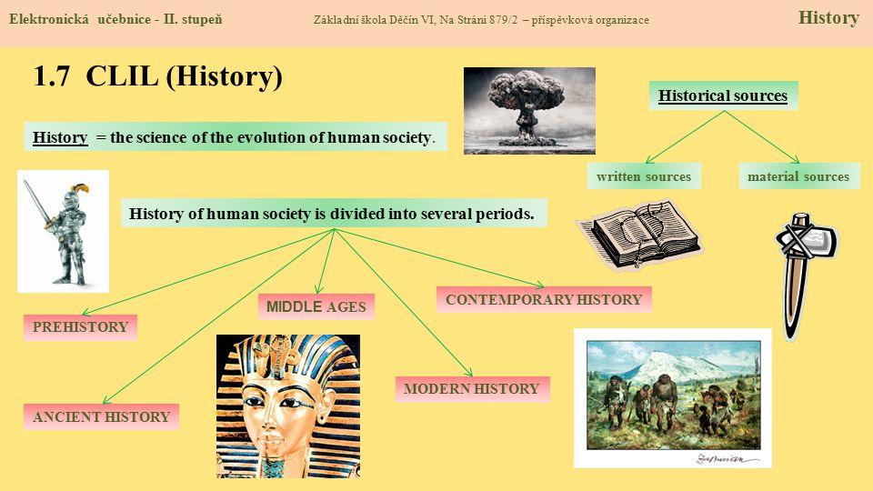 1.7 CLIL (History) Elektronická učebnice - II. stupeň Základní škola Děčín VI, Na Stráni 879/2 – příspěvková organizace History History = the science