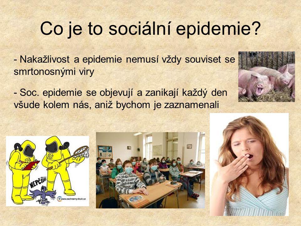 Tři pravidla epidemií 1.Zákon malého počtu : úspěch jakékoli soc.