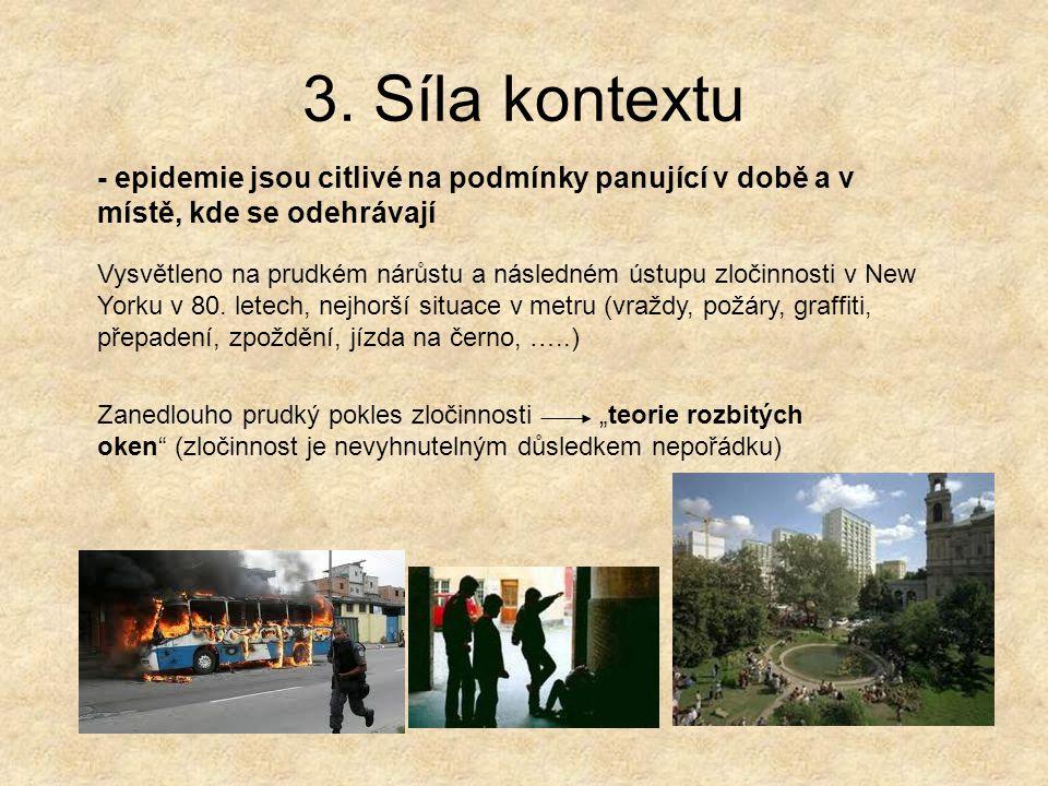 3. Síla kontextu - epidemie jsou citlivé na podmínky panující v době a v místě, kde se odehrávají Vysvětleno na prudkém nárůstu a následném ústupu zlo