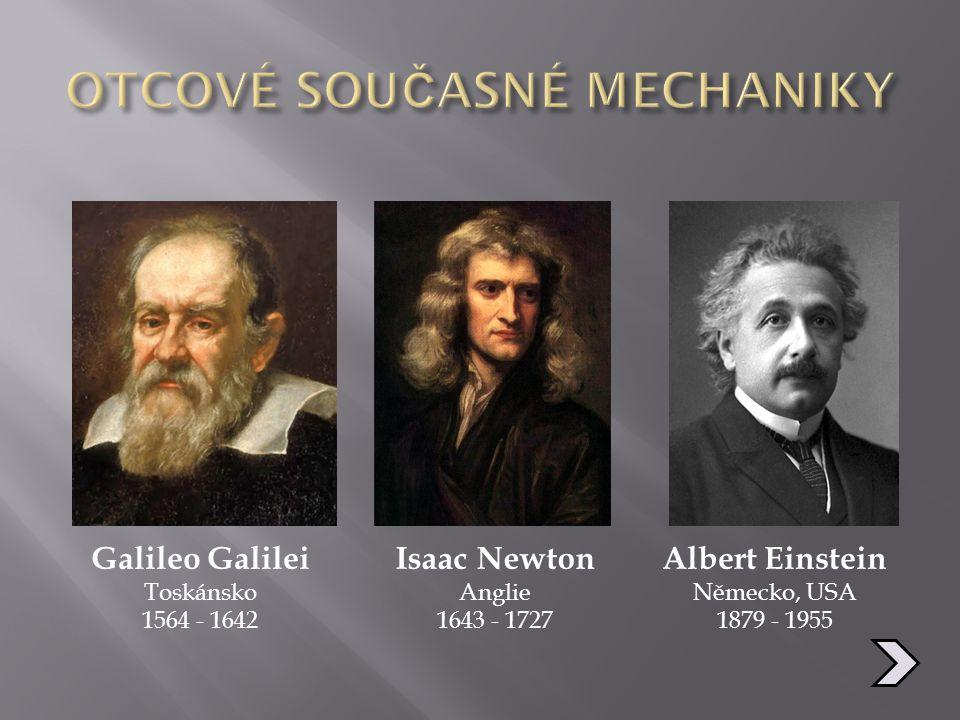 Galileo Galilei Toskánsko 1564 - 1642 Isaac Newton Anglie 1643 - 1727 Albert Einstein Německo, USA 1879 - 1955