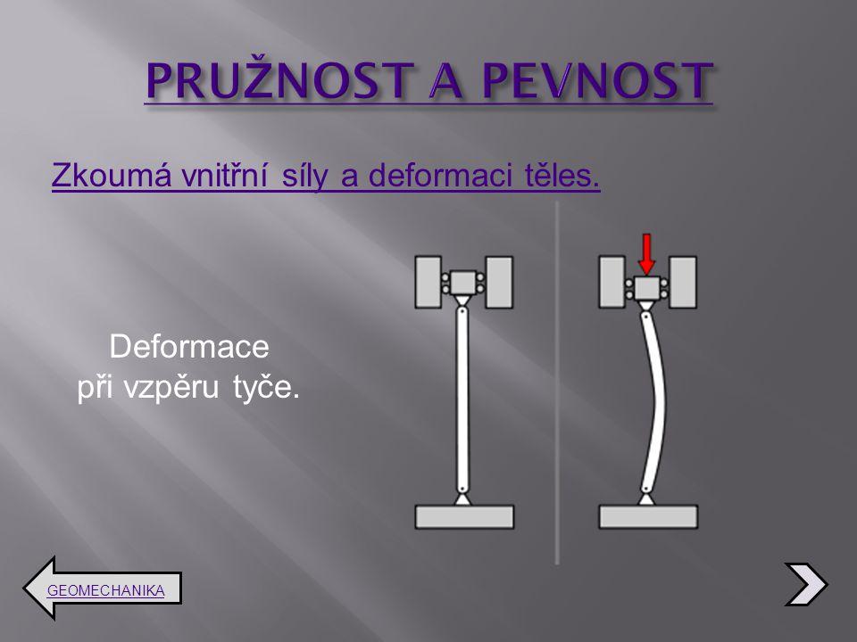 Zkoumá vnitřní síly a deformaci těles. GEOMECHANIKA Deformace při vzpěru tyče.