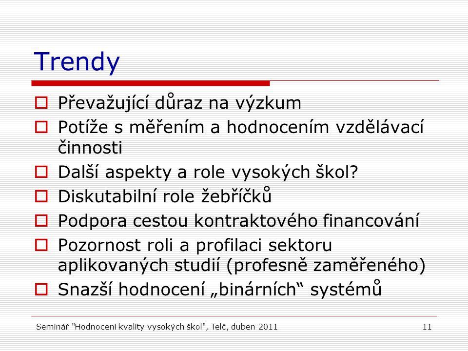 Seminář Hodnocení kvality vysokých škol , Telč, duben 201111 Trendy  Převažující důraz na výzkum  Potíže s měřením a hodnocením vzdělávací činnosti  Další aspekty a role vysokých škol.